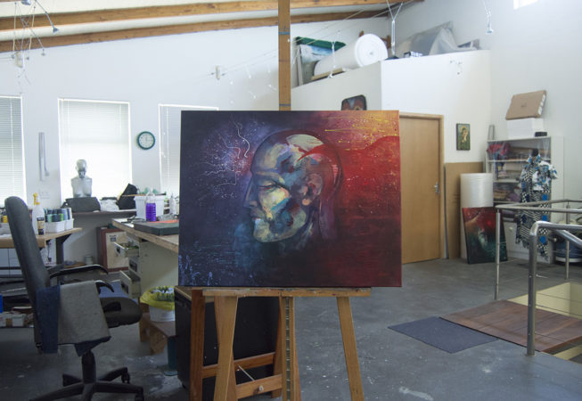 on easel